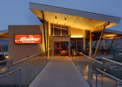 Miradoro Restaurant at Tinhorn Creek Vineyards in Oliver, BC Entrance DiRoNA Awarded Restaurant