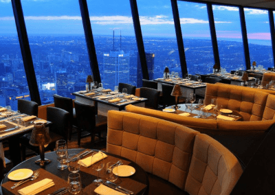 360 The Restaurant at the CN Tower in Toronto, ON City View at Dusk DiRoNA Awarded Restaurant