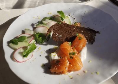 Hyeholde Restaurant in Coraopolis, PA Citrus Cured Salmon Appetizer DiRoNA Awarded Restaurant