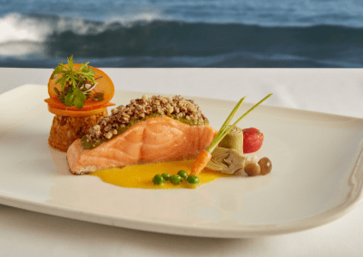 The Marine Room at La Jolla Beach & Tennis Club in La Jolla, CA Salmon DiRoNA Awarded Restaurant